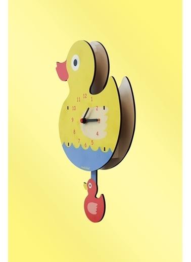 Peoples Clock Yavru Ördek Sallanan Sarkaçlı Çocuk Odası Duvar Saati Renkli